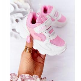 Calçados infantis esportivos tênis branco e rosa açúcar 3