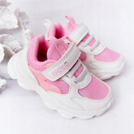 Calçados infantis esportivos tênis branco e rosa açúcar 2
