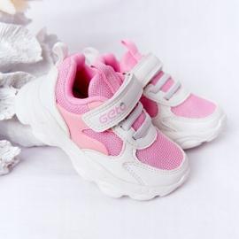 Calçados infantis esportivos tênis branco e rosa açúcar 4