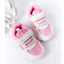 Calçados infantis esportivos tênis branco e rosa açúcar 5