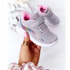 Calçados Esportivos Infantis Tênis Cinza Ready Go! rosa multicolorido 3