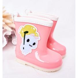 Botas de chuva infantis rosa com coelhinho 3