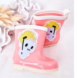Botas de chuva infantis rosa com coelhinho 1