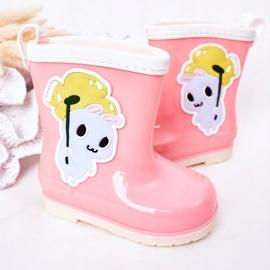 Botas de chuva infantis rosa com coelhinho 2