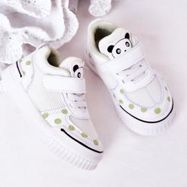 Apawwa Calçados Esportivos Infantis Com Panda Branco e Verde Chico 3