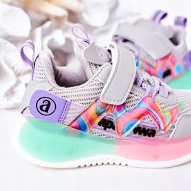 Apawwa Calçados infantis esportivos tênis salto cinza multicolorido 4