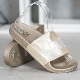 Small Swan LOVE & HATE chinelos de couro ecológico dourado 2
