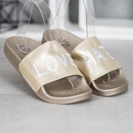 Small Swan LOVE & HATE chinelos de couro ecológico dourado 3