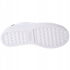 Sapatos de couro liso Tommy Hilfiger Iconic em EN0EN01113-YBR branco marinha 3