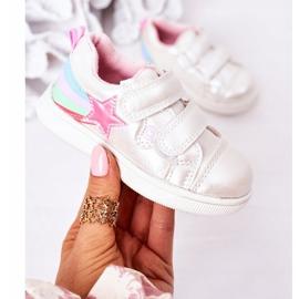 PE1 Sapatos esportivos infantis de couro ecológico com jasmim branco arco-íris multicolorido 2