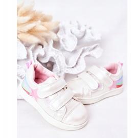 PE1 Sapatos esportivos infantis de couro ecológico com jasmim branco arco-íris multicolorido 3