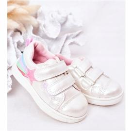 PE1 Sapatos esportivos infantis de couro ecológico com jasmim branco arco-íris multicolorido 1