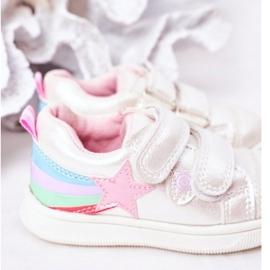 PE1 Sapatos esportivos infantis de couro ecológico com jasmim branco arco-íris multicolorido 4
