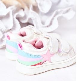 PE1 Sapatos esportivos infantis de couro ecológico com jasmim branco arco-íris multicolorido 5