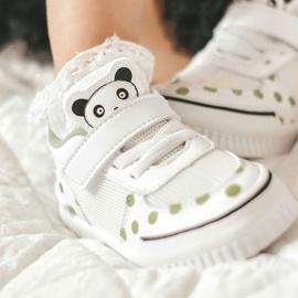 Apawwa Calçados Esportivos Infantis Com Panda Branco e Verde Chico 10