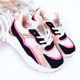 Calçados infantis esportivos tênis rosa néon tempo de jogo branco preto 4