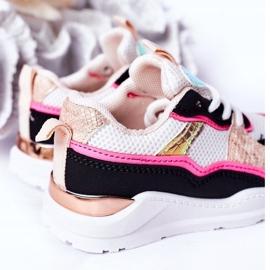 Calçados infantis esportivos tênis rosa néon tempo de jogo branco preto 7