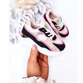 Calçados infantis esportivos tênis rosa néon tempo de jogo branco preto 5
