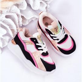 Calçados infantis esportivos tênis rosa néon tempo de jogo branco preto 3