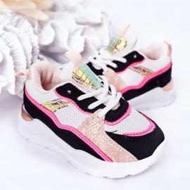 Calçados infantis esportivos tênis rosa néon tempo de jogo branco preto 6