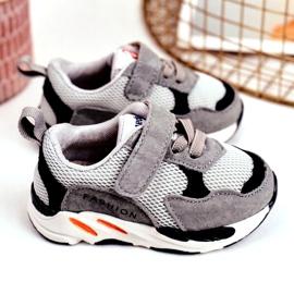 Apawwa Calçados infantis esportivos com velcro cinza Yetto 3