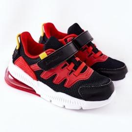 Calçado desportivo infantil com Velcro ABCKIDS Preto-Vermelho 2