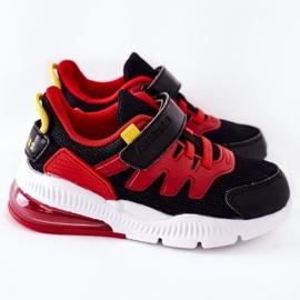 Calçado desportivo infantil com Velcro ABCKIDS Preto-Vermelho 3